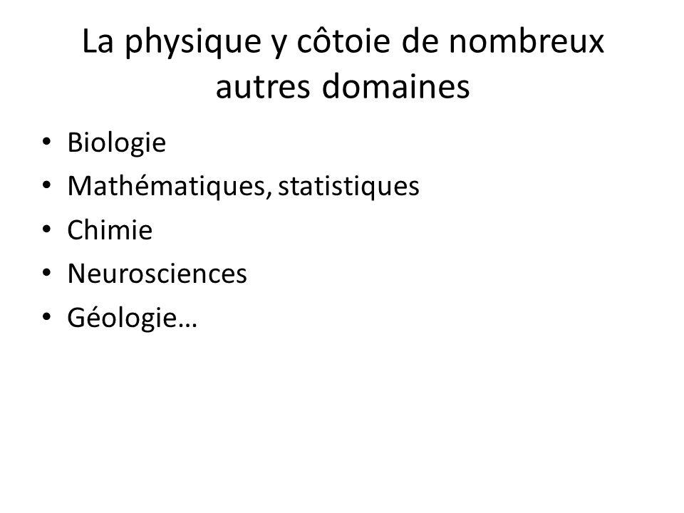 La physique y côtoie de nombreux autres domaines Biologie Mathématiques, statistiques Chimie Neurosciences Géologie…