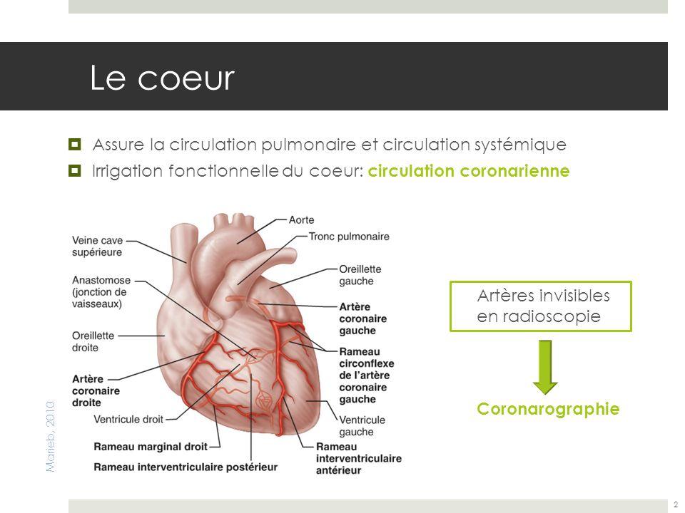 Le coeur Assure la circulation pulmonaire et circulation systémique Irrigation fonctionnelle du coeur: circulation coronarienne 2 Marieb, 2010 Artères
