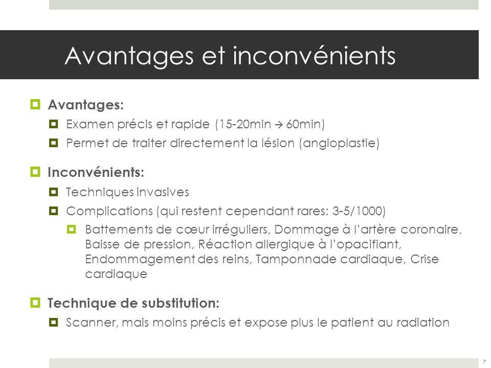 Avantages et inconvénients Avantages: Examen précis et rapide (15-20min 60min) Permet de traiter directement la lésion (angioplastie) Inconvénients: T