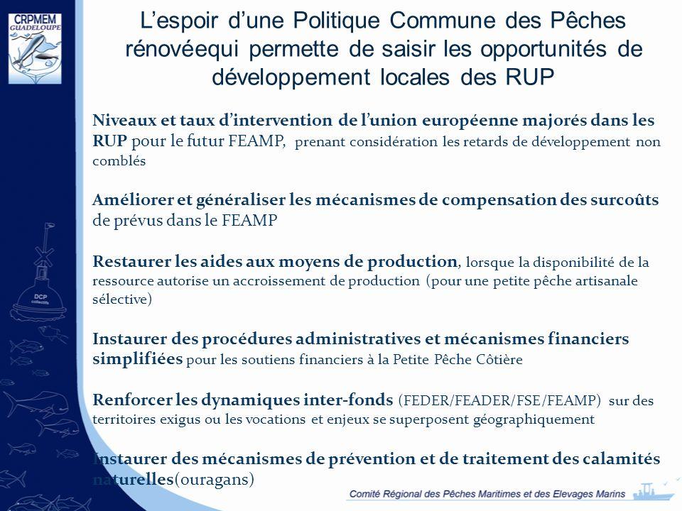 Lespoir dune Politique Commune des Pêches rénovéequi permette de saisir les opportunités de développement locales des RUP Niveaux et taux dinterventio