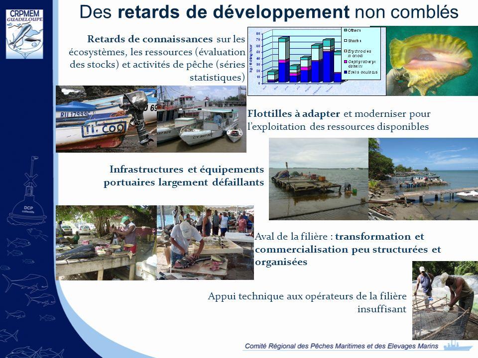 Des retards de développement non comblés Retards de connaissances sur les écosystèmes, les ressources (évaluation des stocks) et activités de pêche (s