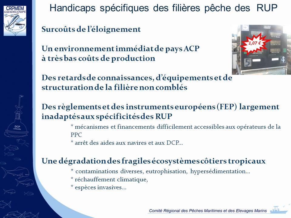 Handicaps spécifiques des filières pêche des RUP Surcoûts de léloignement Un environnement immédiat de pays ACP à très bas coûts de production Des ret