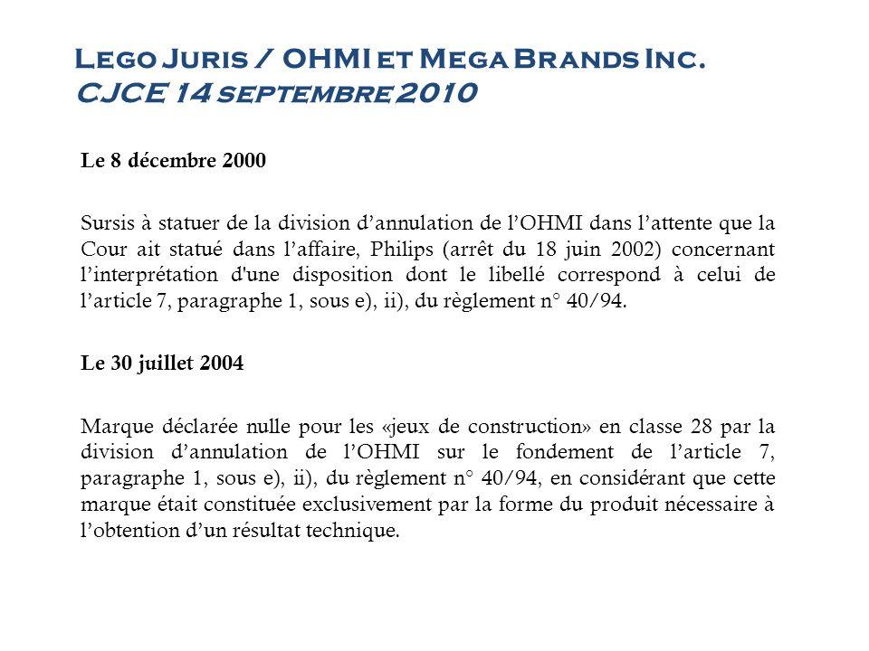 Lego Juris / OHMI et Mega Brands Inc. CJCE 14 septembre 2010 Le 8 décembre 2000 Sursis à statuer de la division dannulation de lOHMI dans lattente que