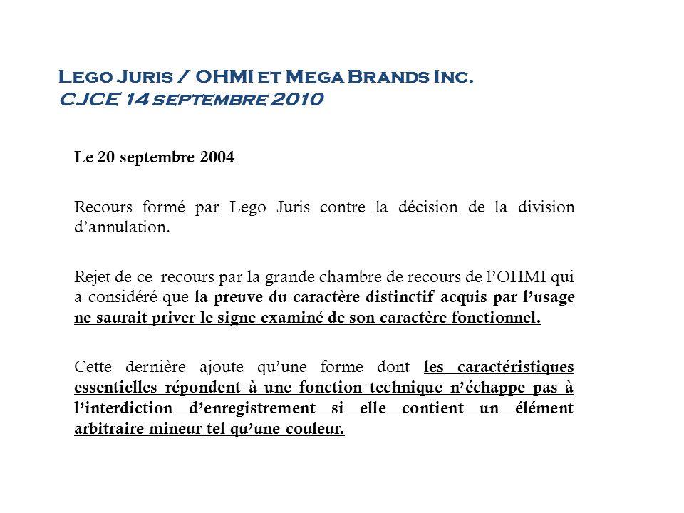 Lego Juris / OHMI et Mega Brands Inc. CJCE 14 septembre 2010 Le 20 septembre 2004 Recours formé par Lego Juris contre la décision de la division dannu
