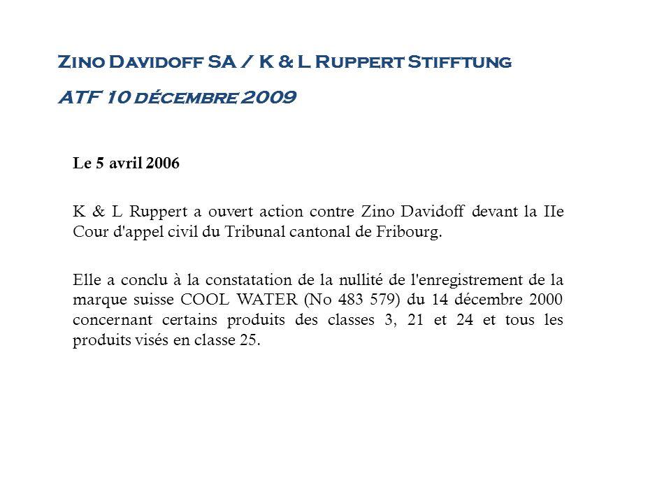 Zino Davidoff SA / K & L Ruppert Stifftung ATF 10 décembre 2009 Le 5 avril 2006 K & L Ruppert a ouvert action contre Zino Davidoff devant la IIe Cour