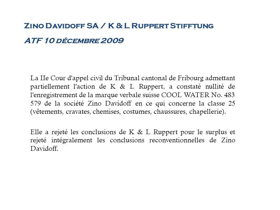 Zino Davidoff SA / K & L Ruppert Stifftung ATF 10 décembre 2009 La IIe Cour d'appel civil du Tribunal cantonal de Fribourg admettant partiellement l'a