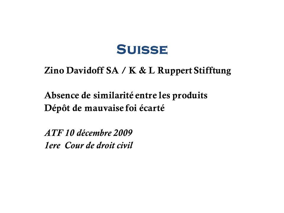 Suisse Zino Davidoff SA / K & L Ruppert Stifftung Absence de similarité entre les produits Dépôt de mauvaise foi écarté ATF 10 décembre 2009 1ere Cour