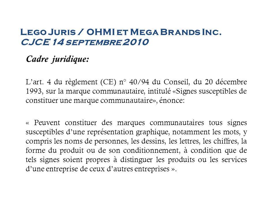 Lego Juris / OHMI et Mega Brands Inc. CJCE 14 septembre 2010 Cadre juridique: Lart. 4 du règlement (CE) n° 40/94 du Conseil, du 20 décembre 1993, sur