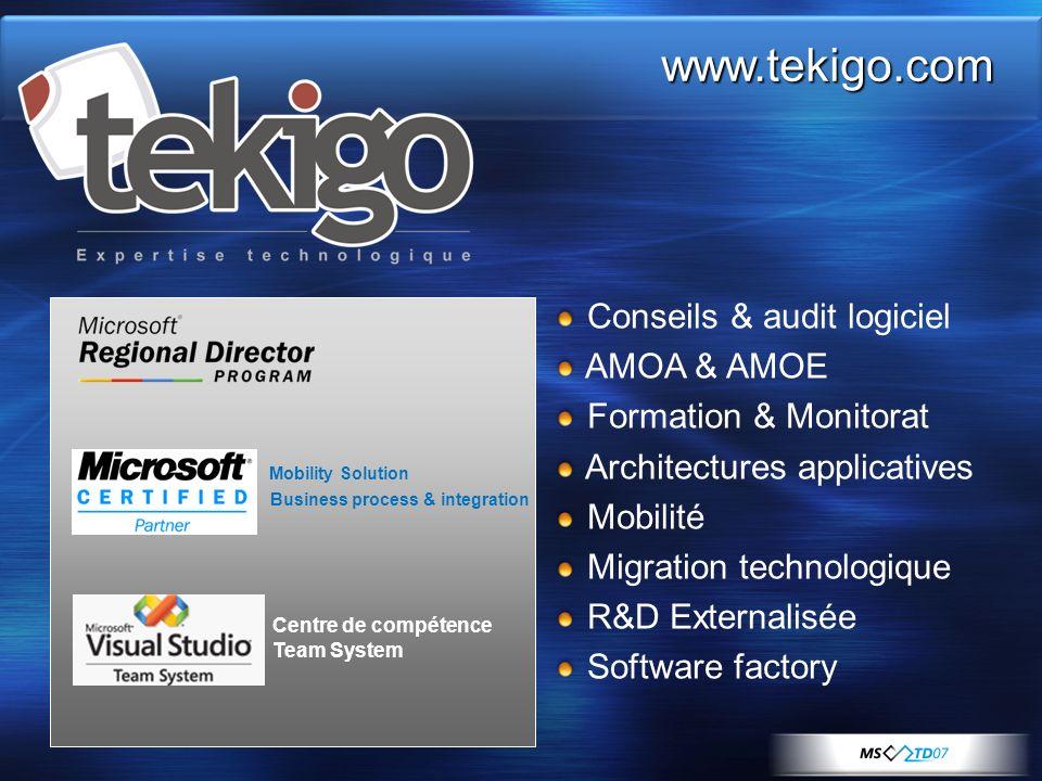www.tekigo.com Conseils & audit logiciel AMOA & AMOE Formation & Monitorat Architectures applicatives Mobilité Migration technologique R&D Externalisé
