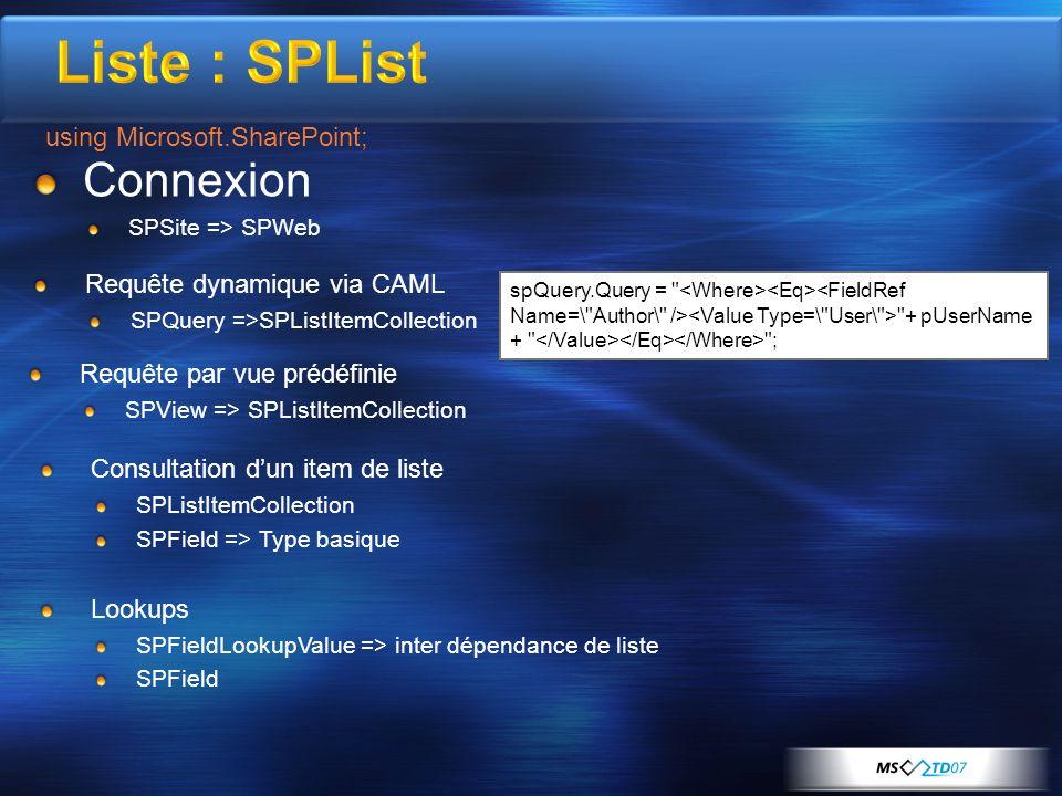 Connexion SPSite => SPWeb spQuery.Query =