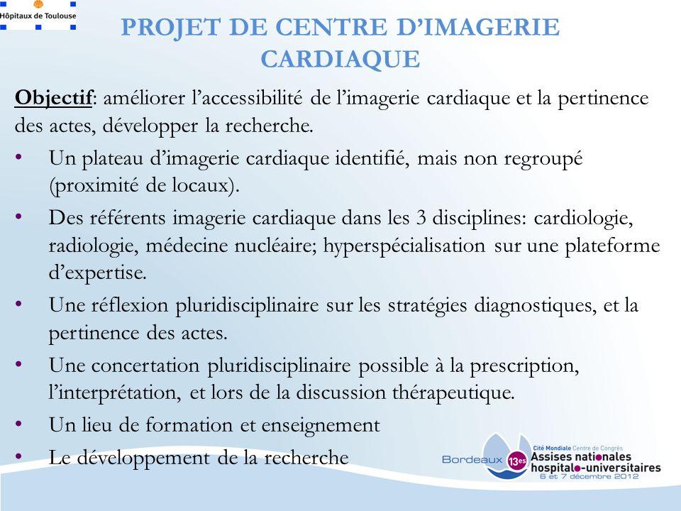 PROJET DE CENTRE DIMAGERIE CARDIAQUE Objectif: améliorer laccessibilité de limagerie cardiaque et la pertinence des actes, développer la recherche.