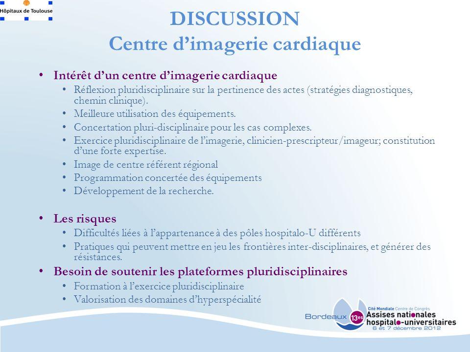 DISCUSSION Centre dimagerie cardiaque Intérêt dun centre dimagerie cardiaque Réflexion pluridisciplinaire sur la pertinence des actes (stratégies diagnostiques, chemin clinique).