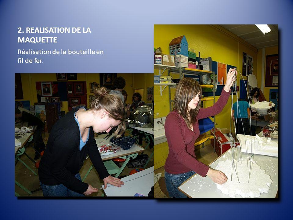 2. REALISATION DE LA MAQUETTE Réalisation de la bouteille en fil de fer.