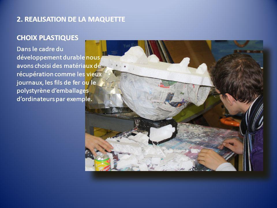 2. REALISATION DE LA MAQUETTE CHOIX PLASTIQUES Dans le cadre du développement durable nous avons choisi des matériaux de récupération comme les vieux