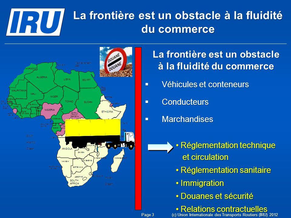 (c) Union Internationale des Transports Routiers (IRU) 2012 Réglementation technique Réglementation technique et circulation et circulation Réglementa
