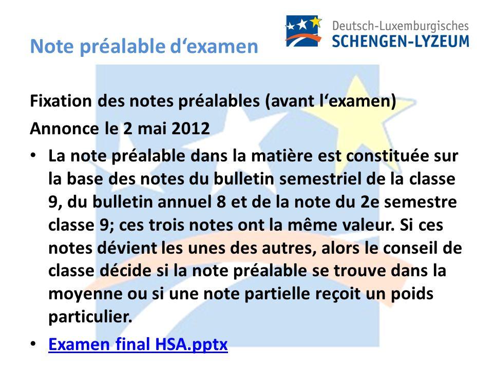 Note préalable dexamen Fixation des notes préalables (avant lexamen) Annonce le 2 mai 2012 La note préalable dans la matière est constituée sur la base des notes du bulletin semestriel de la classe 9, du bulletin annuel 8 et de la note du 2e semestre classe 9; ces trois notes ont la même valeur.