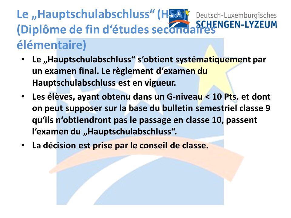 Le Hauptschulabschluss (HSA) (Diplôme de fin détudes secondaires élémentaire) Le Hauptschulabschluss sobtient systématiquement par un examen final.