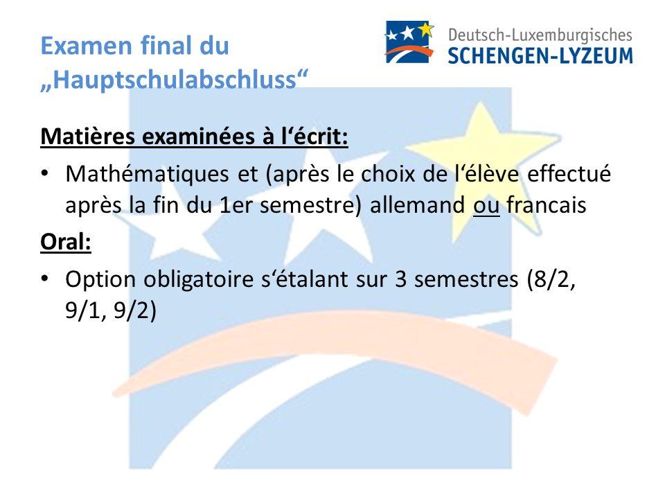 Examen final du Hauptschulabschluss Matières examinées à lécrit: Mathématiques et (après le choix de lélève effectué après la fin du 1er semestre) allemand ou francais Oral: Option obligatoire sétalant sur 3 semestres (8/2, 9/1, 9/2)