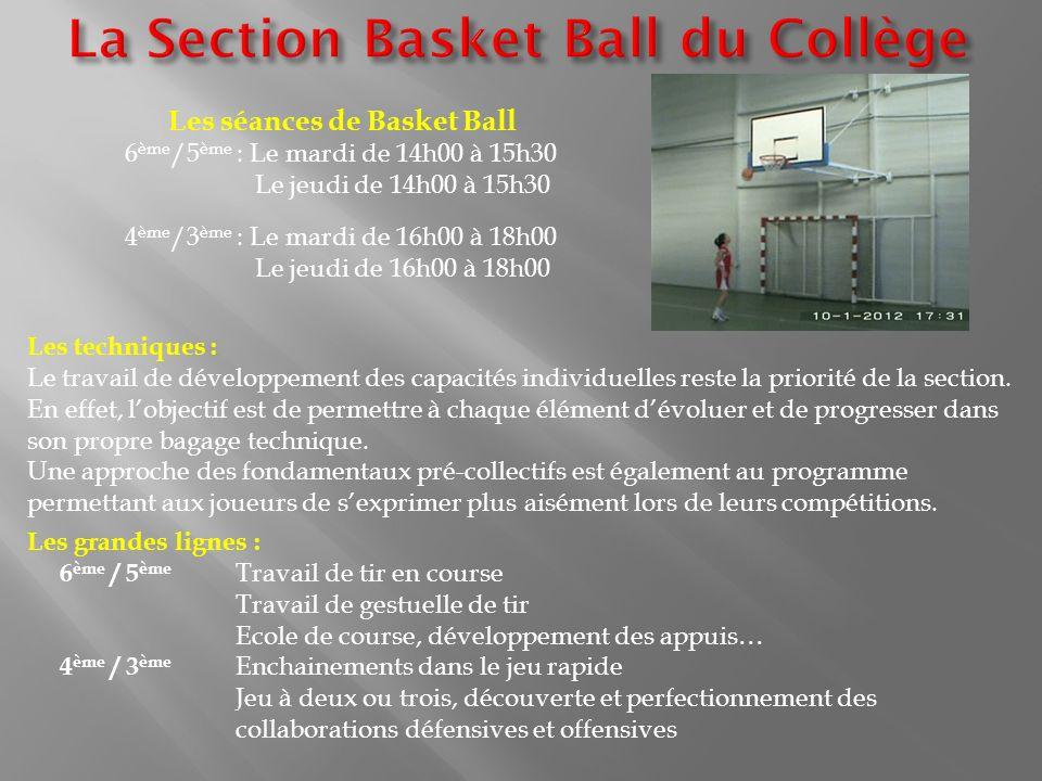Les séances de Basket Ball 6 ème /5 ème : Le mardi de 14h00 à 15h30 Le jeudi de 14h00 à 15h30 4 ème /3 ème : Le mardi de 16h00 à 18h00 Le jeudi de 16h