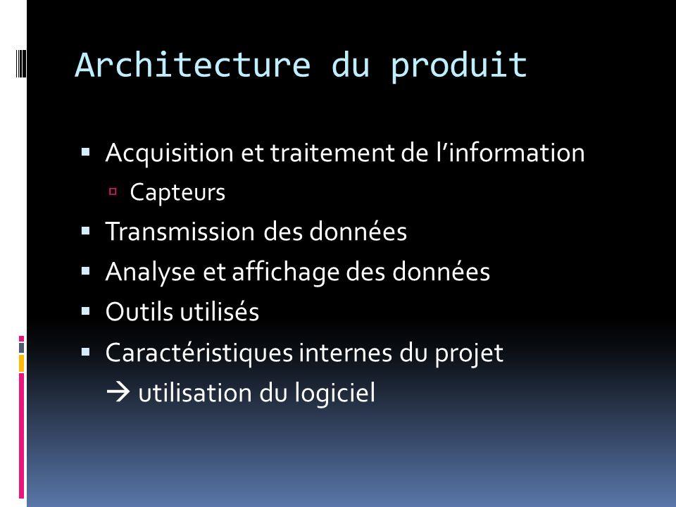 Architecture du produit Acquisition et traitement de linformation Capteurs Transmission des données Analyse et affichage des données Outils utilisés C