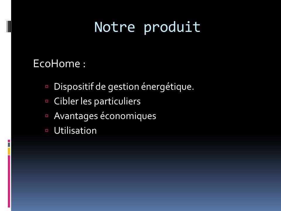 Notre produit EcoHome : Dispositif de gestion énergétique. Cibler les particuliers Avantages économiques Utilisation