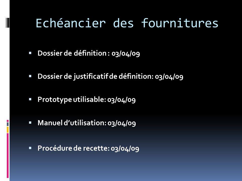 Echéancier des fournitures Dossier de définition : 03/04/09 Dossier de justificatif de définition: 03/04/09 Prototype utilisable: 03/04/09 Manuel duti