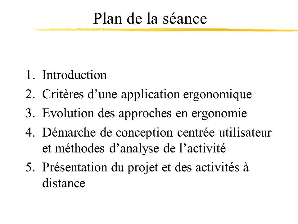 Plan de la séance 1.Introduction 2.Critères dune application ergonomique 3.Evolution des approches en ergonomie 4.Démarche de conception centrée utili