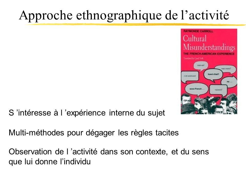 Approche ethnographique de lactivité Observation de l activité dans son contexte, et du sens que lui donne lindividu Multi-méthodes pour dégager les r