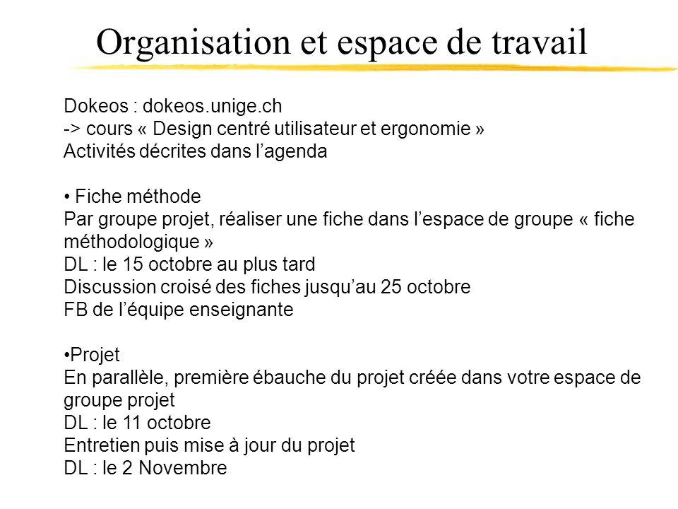 Organisation et espace de travail Dokeos : dokeos.unige.ch -> cours « Design centré utilisateur et ergonomie » Activités décrites dans lagenda Fiche m