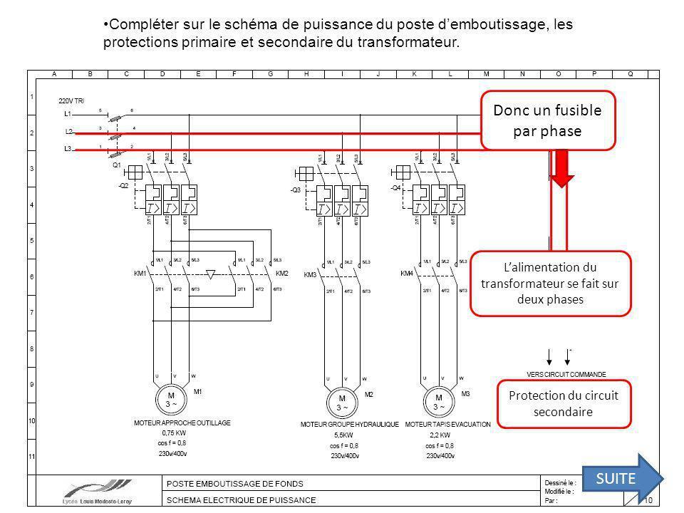 Compléter sur le schéma de puissance du poste demboutissage, les protections primaire et secondaire du transformateur.