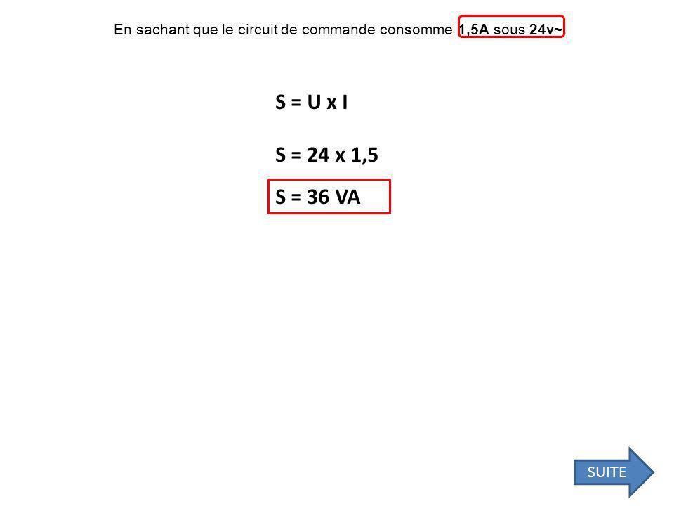 En sachant que le circuit de commande consomme 1,5A sous 24v~.