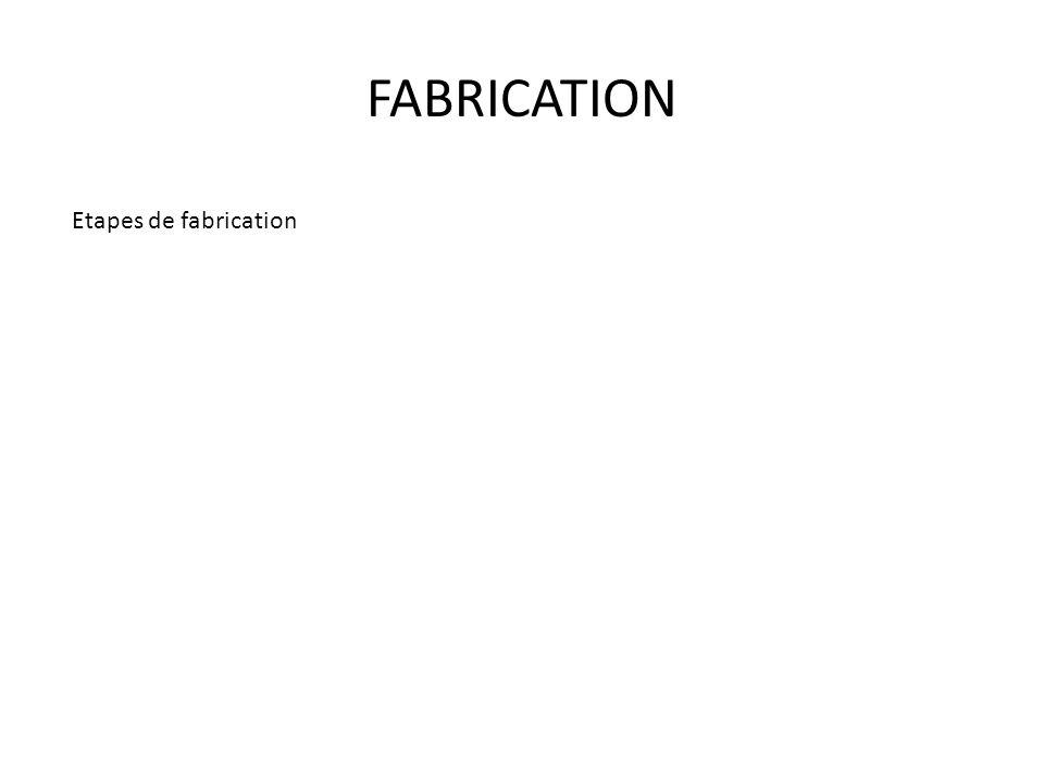 FABRICATION Etapes de fabrication