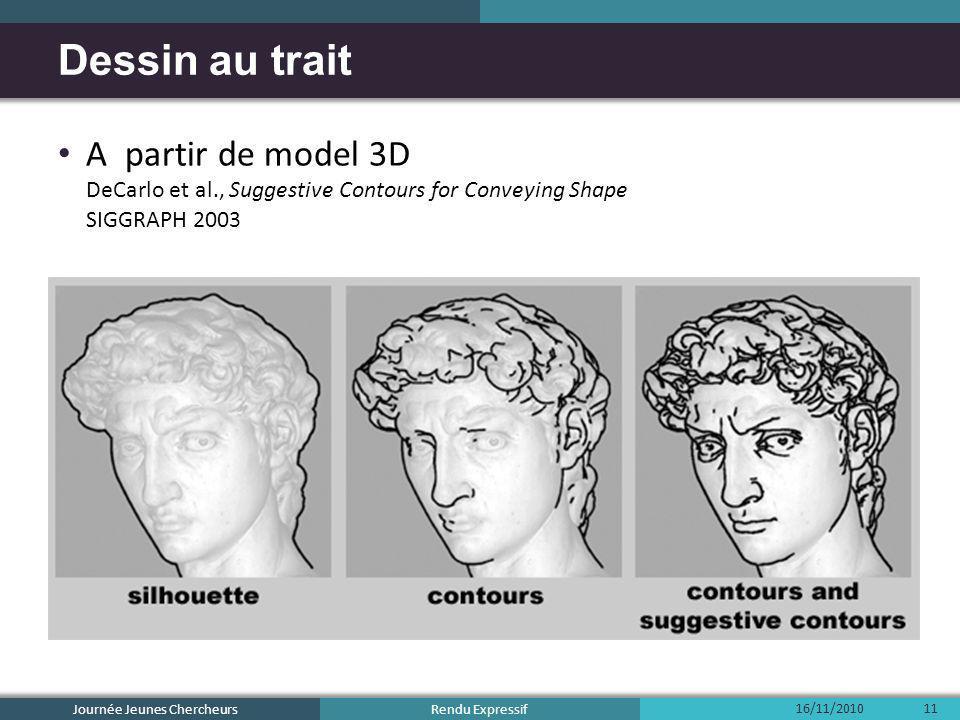 Rendu Expressif A partir de model 3D DeCarlo et al., Suggestive Contours for Conveying Shape SIGGRAPH 2003 Dessin au trait 16/11/2010 Journée Jeunes C