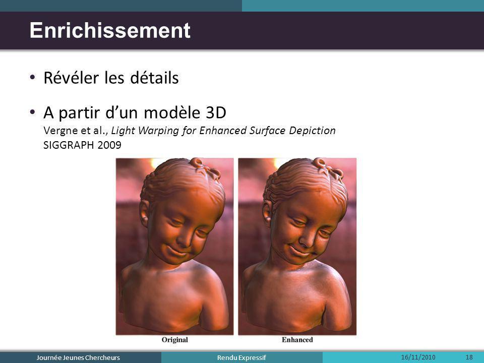 Rendu Expressif Révéler les détails A partir dun modèle 3D Vergne et al., Light Warping for Enhanced Surface Depiction SIGGRAPH 2009 Enrichissement 16