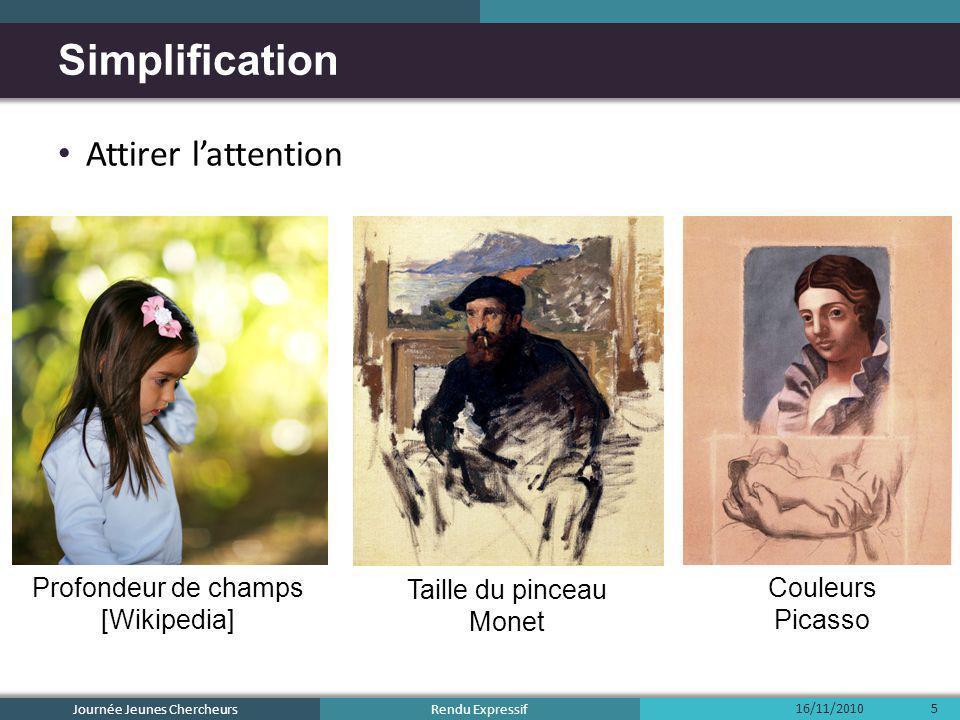 Rendu Expressif Attirer lattention Profondeur de champs [Wikipedia] Taille du pinceau Monet Couleurs Picasso Simplification 16/11/2010 Journée Jeunes