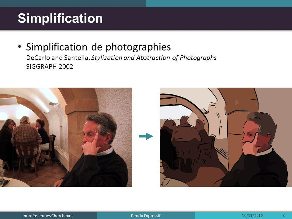 Rendu Expressif Simplification de photographies DeCarlo and Santella, Stylization and Abstraction of Photographs SIGGRAPH 2002 Simplification 16/11/20