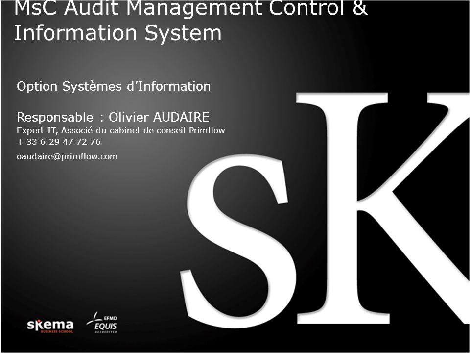 MsC Audit Management Control & Information System Option Systèmes dInformation Responsable : Olivier AUDAIRE Expert IT, Associé du cabinet de conseil Primflow + 33 6 29 47 72 76 oaudaire@primflow.com