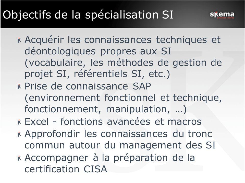 Objectifs de la spécialisation SI Acquérir les connaissances techniques et déontologiques propres aux SI (vocabulaire, les méthodes de gestion de proj