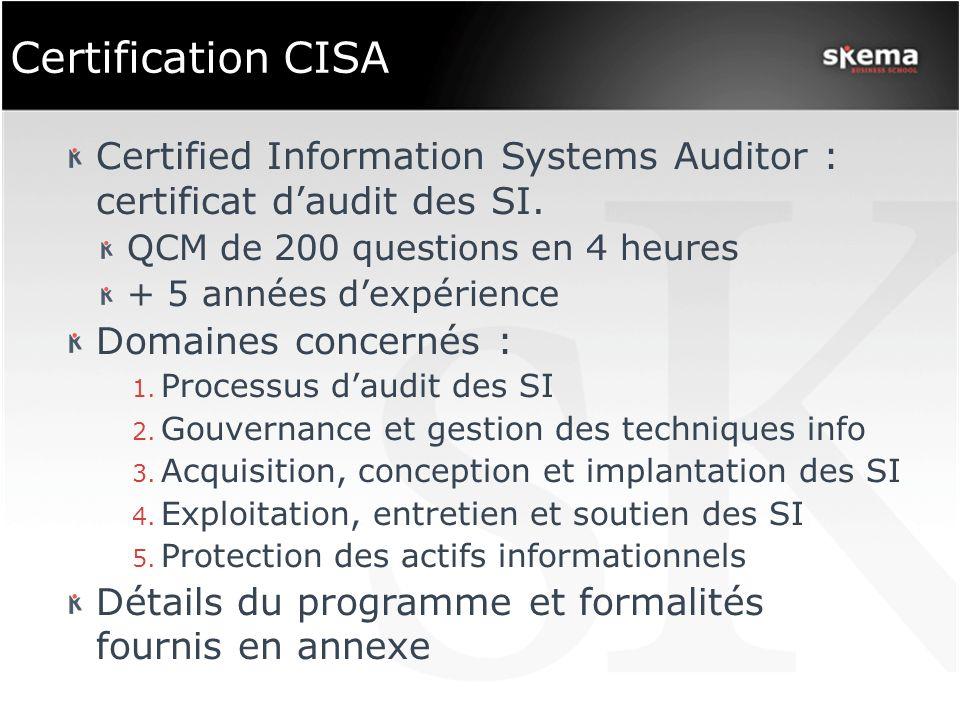 Certification CISA Certified Information Systems Auditor : certificat daudit des SI. QCM de 200 questions en 4 heures + 5 années dexpérience Domaines