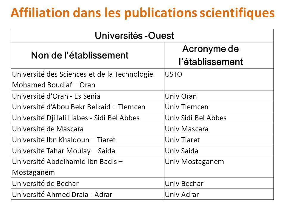 Affiliation dans les publications scientifiques Universités -Ouest Non de létablissement Acronyme de létablissement Université des Sciences et de la T