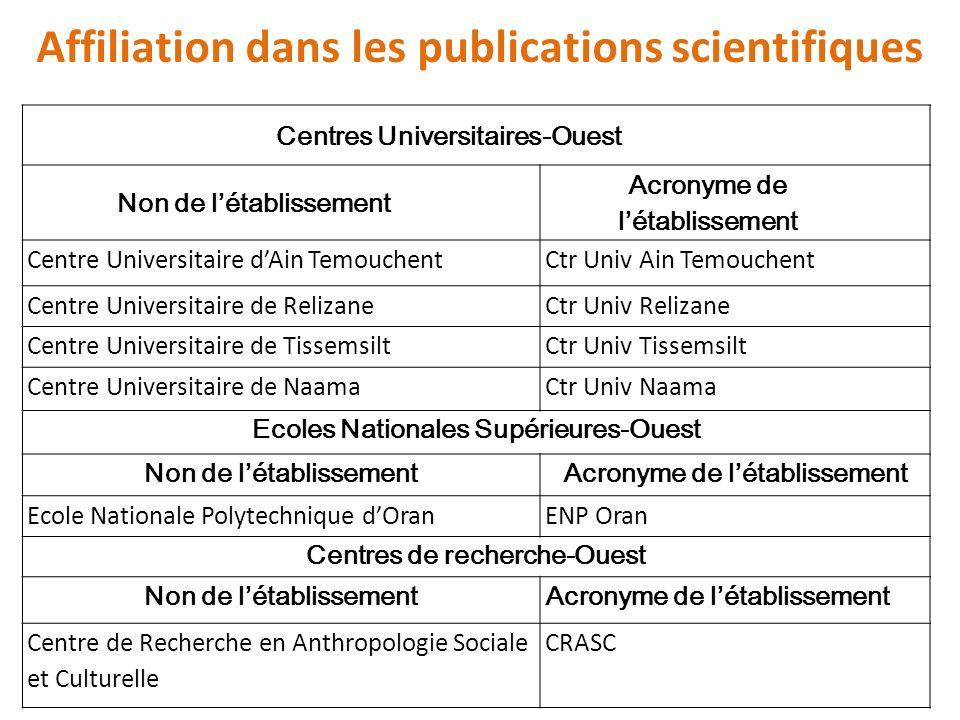 Affiliation dans les publications scientifiques Centres Universitaires-Ouest Non de létablissement Acronyme de létablissement Centre Universitaire dAi