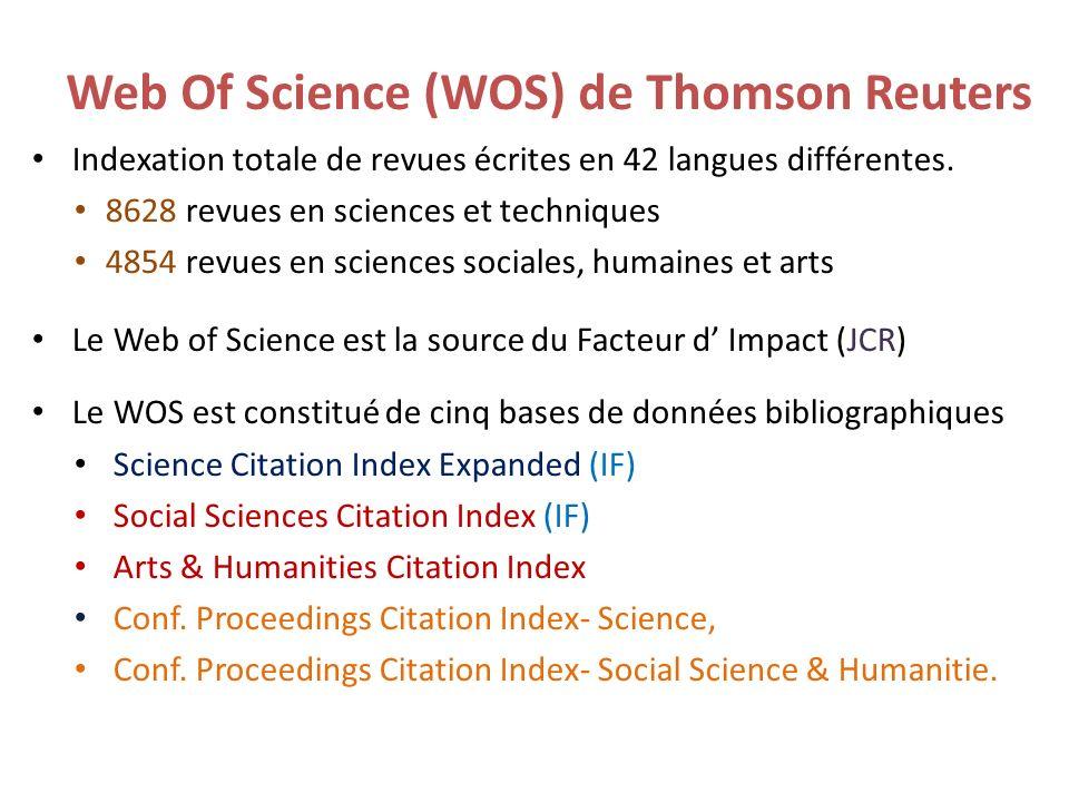 Indexation totale de revues écrites en 42 langues différentes. 8628 revues en sciences et techniques 4854 revues en sciences sociales, humaines et art