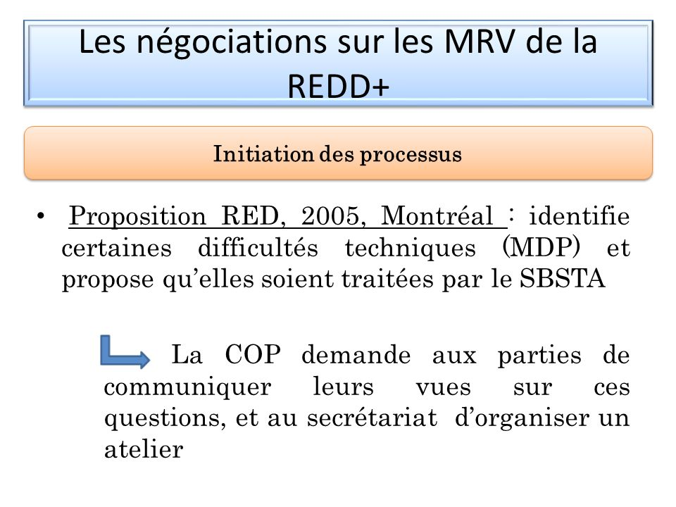 Le champ dapplication RED Document : Reducing emissions from deforestation in developing countries : approaches to stimulate action, Submissions from Parties, FCCC/CP/2005/MISC.1.
