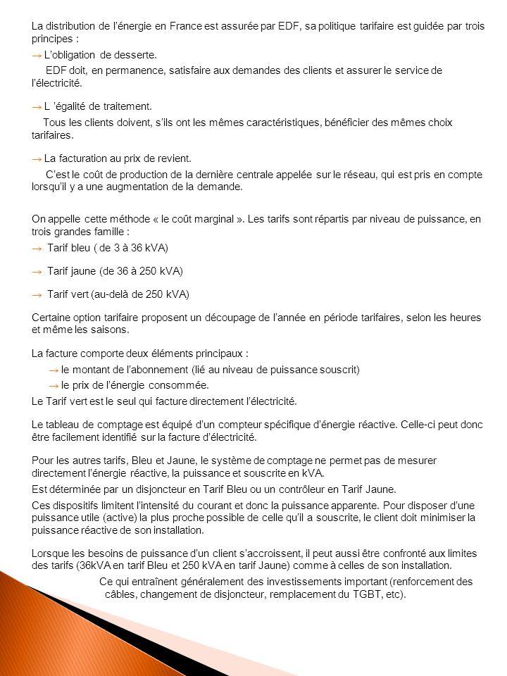 La distribution de lénergie en France est assurée par EDF, sa politique tarifaire est guidée par trois principes : Lobligation de desserte.