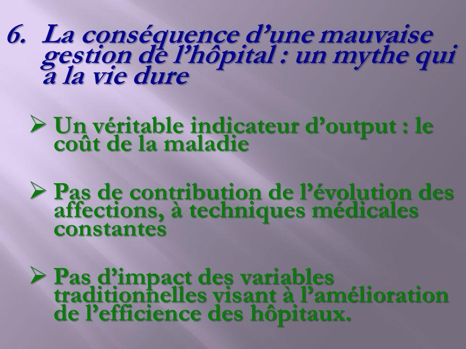 6.La conséquence dune mauvaise gestion de lhôpital : un mythe qui a la vie dure Un véritable indicateur doutput : le coût de la maladie Un véritable i