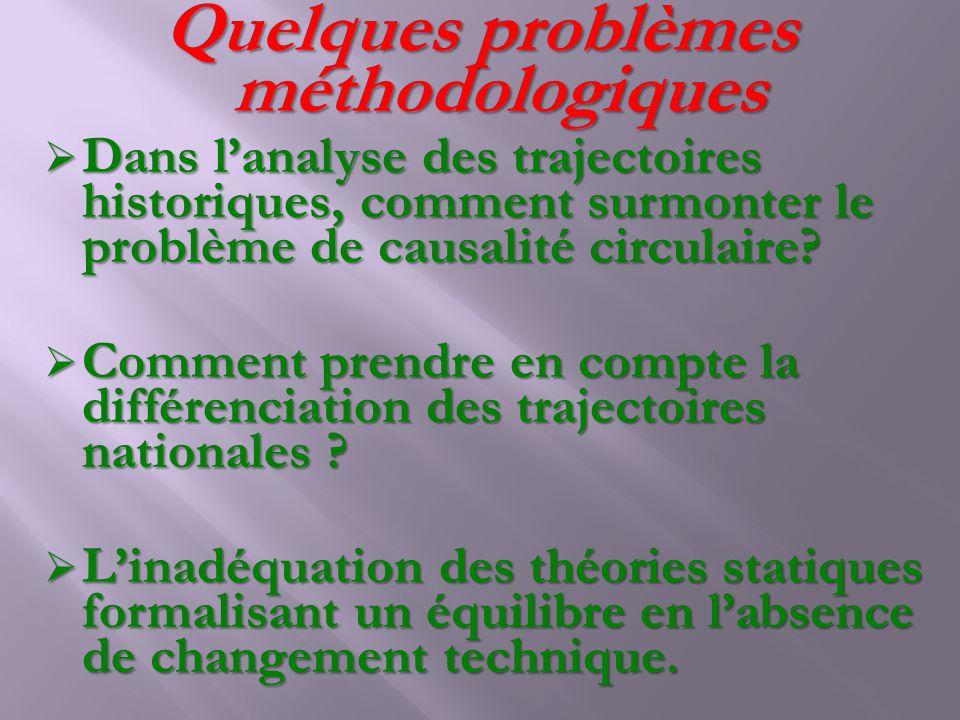 Quelques problèmes méthodologiques Dans lanalyse des trajectoires historiques, comment surmonter le problème de causalité circulaire? Dans lanalyse de