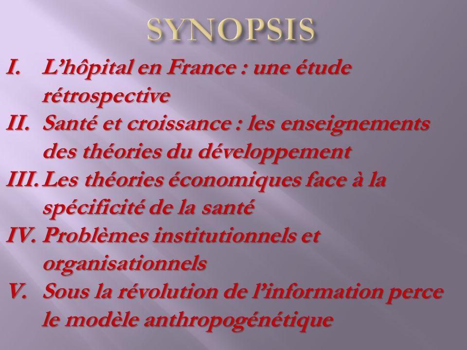 I.Lhôpital en France : une étude rétrospective II.Santé et croissance : les enseignements des théories du développement III.Les théories économiques f