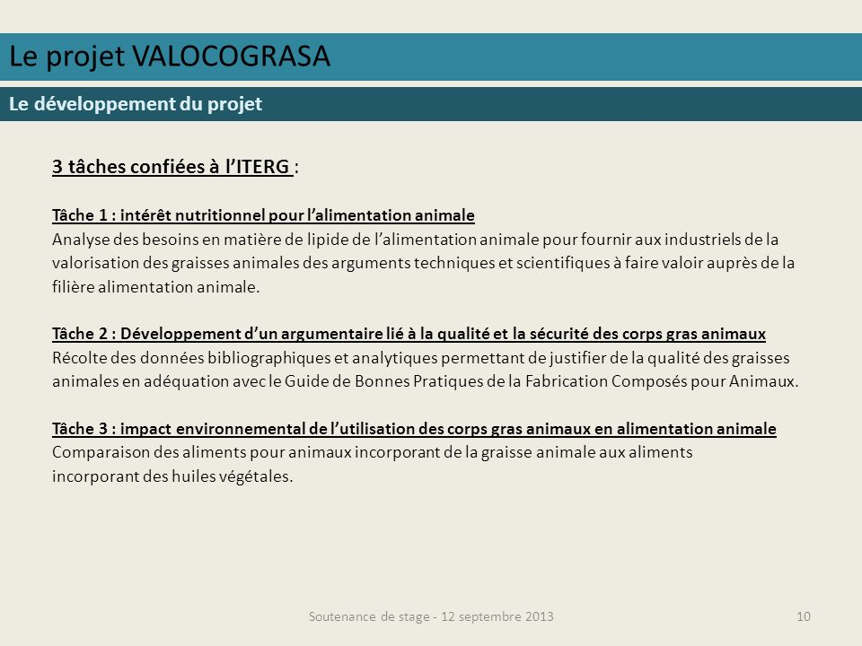 Soutenance de stage - 12 septembre 201311 Le projet VALOCOGRASA Les objectifs Objectifs du projet : Favoriser le développement de la valorisation des graisses animales produites sur le territoire français en alimentation animale en France.