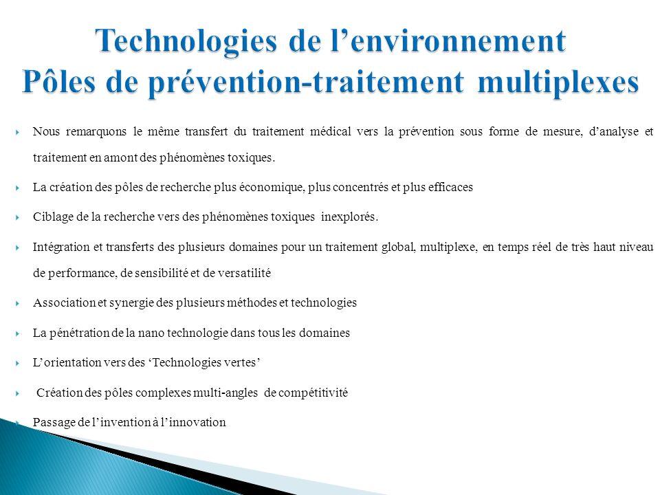 Nous remarquons le même transfert du traitement médical vers la prévention sous forme de mesure, danalyse et traitement en amont des phénomènes toxiques.