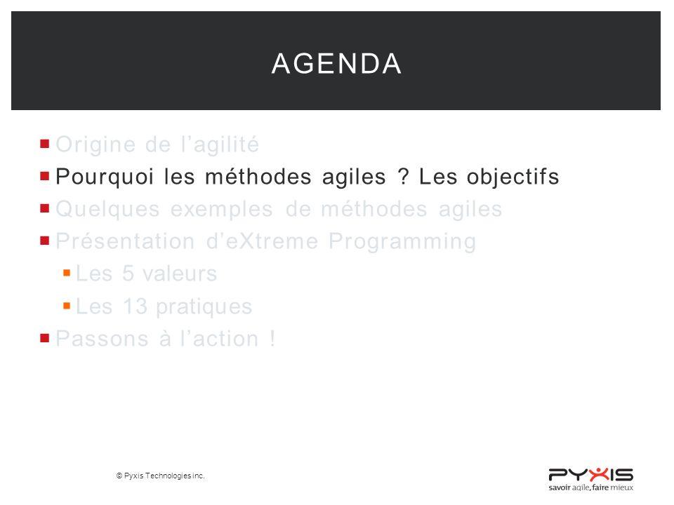 © Pyxis Technologies inc.Origine de lagilité Pourquoi les méthodes agiles .